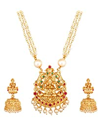 The Luxor Fashion Ethnic Traditional Gold Plated Kundan & Pearl Designer Long Haram Mala Necklace Tribal Temple Jewellery Set with Earrings for Women and Girls