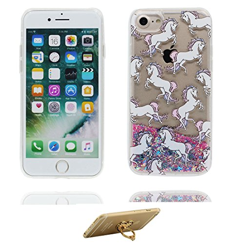 "iPhone 7 Plus Coque, iPhone 7 Plus étui Cover 5.5"", talon hauts - Bling Bling Glitter Fluide Liquide Sparkles Sables, iPhone 7 Plus Case, Shell -anti-chocs -High Heels & ring Support cheval"