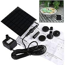 Liqoo® 1.1W Solar Bomba de Agua Fuente de Panel para Decoración de Estanque Jardín para Ciclo de Agua con 4 Boquillas de Pulverización 7V Altura Máxima del Agua 30-60 cm