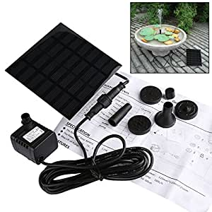 liqoo solar pumpe springbrunnen teichpumpe f r garten wasserpumpe f r miniteich mit 4. Black Bedroom Furniture Sets. Home Design Ideas