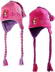Sofia die Erste Beanie Mütze Kinder Winter Strickmütze mit Bommel Kid's Hat Cap Kindermütze Wintermütze