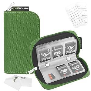 Custodia per Memory Card - Compatibile con SDHC e Memory Card SD - 8 Pagine e 22 Slot - Panno per pulire in microfibra ECO-FUSED incluso (Verde)
