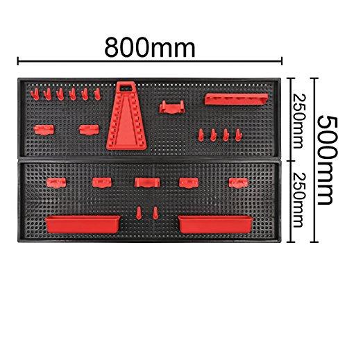 XXL Werkzeugwand Lochwand mit 24tlg. Werkzeugbefestigungsset, Länge 80 cm x Breite 50 cm - beliebig erweiterbar -