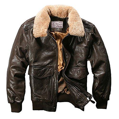 Avirex Fly Giacca in vera pelle da uomo in pelle di pecora giacca Bomber giacca Black Small