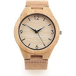 Original Factory Handmade bamboo watch genuine leather band Japanese movement quartz wooden watch men (Numeric)
