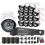 TMEZON Überwachungskameras Videoüberwachung System 16CH 1080P AHD DVR NVR HVR 3 in 1 mit 16x2.0MP wetterfest Nachtsicht Kamera,Unterstützen P2P Fernzugriff von Smartphone,2TB Festplatte