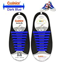 Elastic Laces for Adults Dark Blue by Coolnice® DIY 16pcs- Elastic Stretch Environmentally Safe Waterproof Silicon Wipe Clean- Long Lasting Colour of dark blue