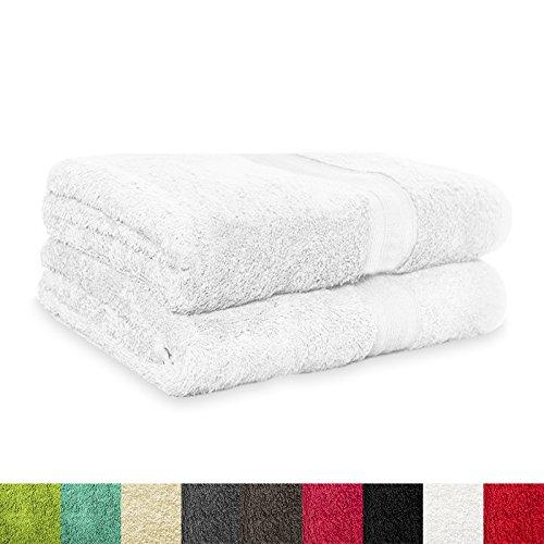 Handtücher Magic Soft | 2er Set | Öko Tex Standard 100 | Premium-Qualität ca. 550g /m2 | schneeweiß | viele Größen ( 100x150 cm ) (Damen-frottee-liege)