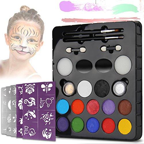 inkfarben LeCou 12er Schminkset kinder, 2 Glitzer und 4 Pinsel , Schminkasten Tiermasken Körperfarben für Kinder Halloween Karneval Make-up Gesichtsfarbe Bodypainting ()