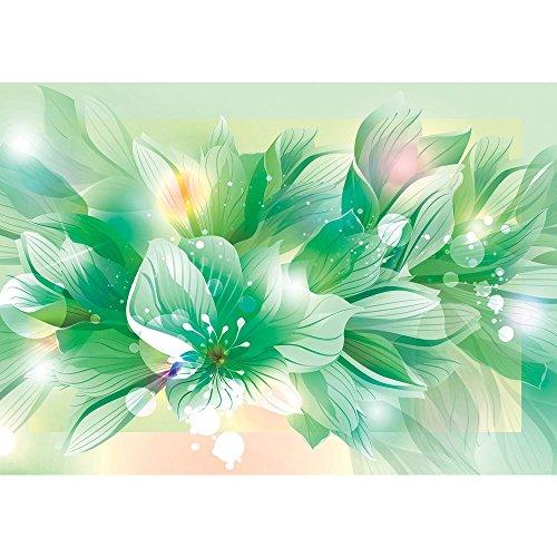 Vlies Fototapete PREMIUM PLUS Wand Foto Tapete Wand Bild Vliestapete - Blume Blüte Blätter Malerei Kunst - no. 1939, Größe:312x219cm Vlies