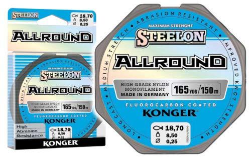 Konger Angelschnur Allround Fluorocarbon Coated Spule 150m Monofile (0,25mm / 8,50kg)