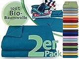 hochwertige Bio-Handtuchserie - erhältlich in 22 trendigen Unifarben oder 7 Streifen - in 7 verschiedenen Größen, 2er-Pack Handtücher 50 x 100 cm, petrol