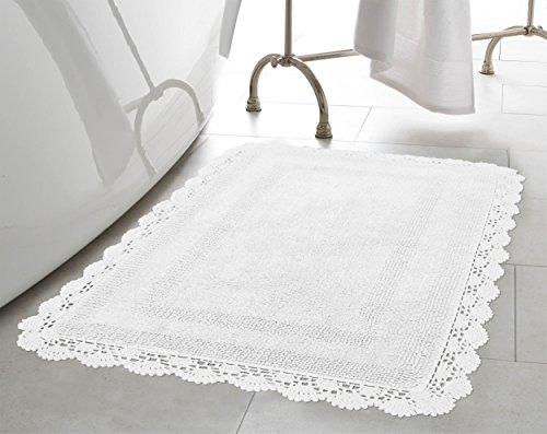Laura Ashley Gehäkelter Baumwolle 24x 40Bad Teppich, Weiß, Weiß, 21x34 in. (Laura Ashley Bad)