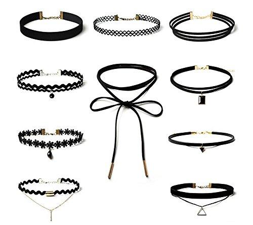 10 Stück schwarzer Choker Halsketten Set Velvet Classic Gothic Tattoo Spitze Choker Set Halsketten für Frauen und Mädchen (Grils Kleider)