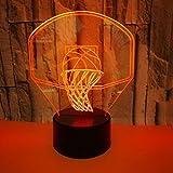 SHNDYW 3D Luz de noche Canasta de baloncesto 3D de regalo luz nocturna 3D luz de noche led Colorido USB 3D visual pequeña lámpara de mesa