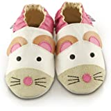 Snuggle Feet Mouse White Leather Baby Shoes