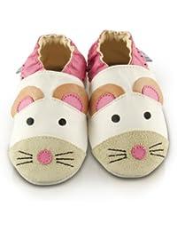 Snuggle Feet - Chaussons Bébé en Cuir Doux - Jolie Souris