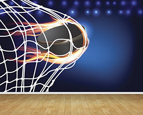 Chicbanners V001 Tapete, Motiv: Eishockey Puck Tornetz, Hintergrundfarbe, 3D Tapete, Wand/Decke, Hintergrund, groß, selbstklebendes versiegeltes Vinyl, 2 m hoch x 2,7 m breit