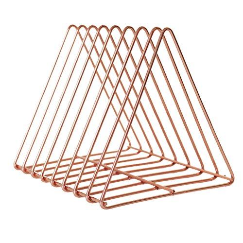 WINOMO Dreieckige Desktop-Buchregal Moderne Metalldraht Bücherregal Einfache Zeitschriftenhalter Rack für Home Office (Rose Gold) -
