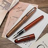 Set da scrittura con penna stilografica, realizzata a mano, in legno, collezione vintage, con convertitore di ricarica, ottima idea regalo, penna stilografica, pennino medio iridio, confezione da 2
