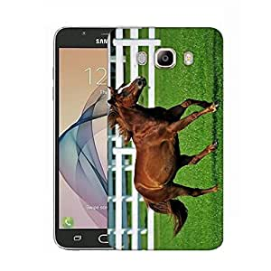 Snoogg Brown Horse Running Designer Protective Phone Back Case Cover For Samsung Galaxy On8