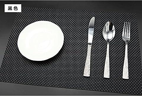 Set de table Plastifié 4-4 noir PVC Placemats Dining Table Sets Clest F&H Résistant à la Chaleur (Set of 2