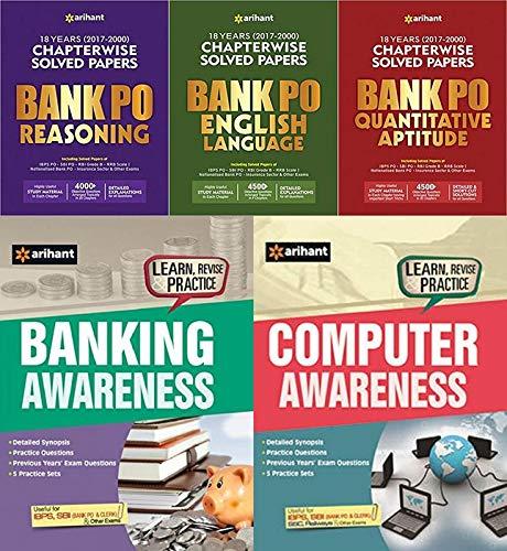 FIVE BOOKS SET'S OF BANK PO ALL EXAMS (REASONING/ENGLISH/QUANTITATIVE APTIUDE/Computer Awareness/BANKING Awareness) FOR 2019 EXAMINATION