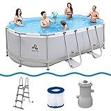 Jilong Oval Swimming Pool Set Passaat Grey - Schwimmbad 427x275x100 cm, Stahlrahmen-Schwimmbecken mit Filterpumpe und Poolleiter, Familienpool für Garten und Terasse