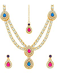 Aadita Traditional Diamond And Stone Necklace Set With Earrings And Maangtikka For Women And Girls