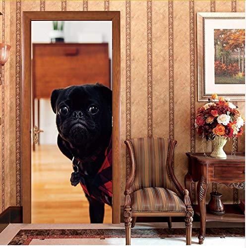 Ljtao Holztüren Renovieren Tür Abziehbilder Nette Hundetür Aufkleber Selbstklebende Dekorative Wasserdichte Wandtattoo Mural Tapete