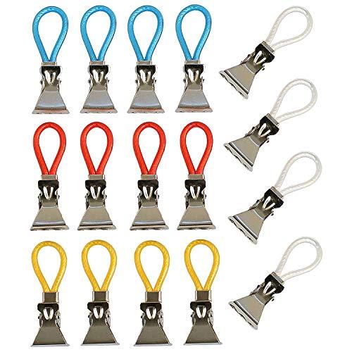 K&G 16er Set Handtuch-Haken Bunt | Multifunktions Clips | Ersatz-Ösen | Geschirrtücher, Topflappen Aufhänger | Klemmen | Bad & Küchen Zubehör