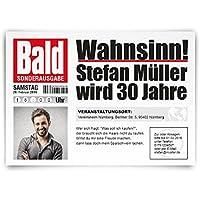 Einladungskarten Zum Geburtstag (30 Stück) Als Zeitung Presse Meldung  Magazin Nachrichten