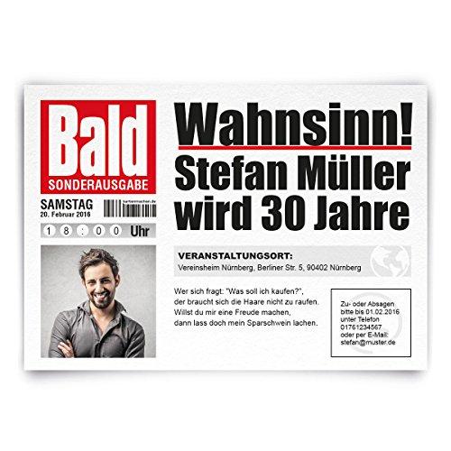 Einladungskarten Zum Geburtstag 30 Stuck Als Zeitung Presse
