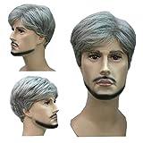 Kolight Mode Hot court bouclés Gris Obscures Blond Homme Perruques...
