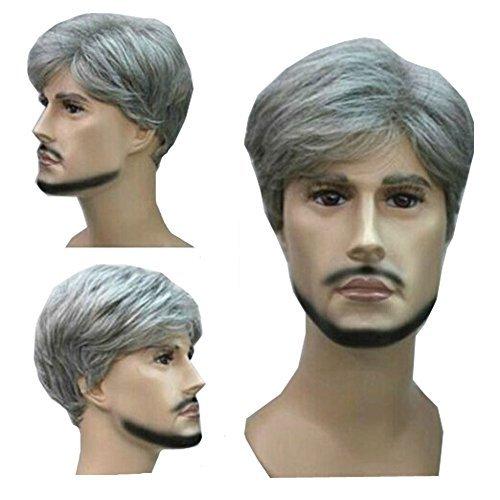 kolight Hot Fashion kurz gelockt Grau Gloomy Flachsfarben Herren Perücken natürlich aussehende Kunsthaar Perücke