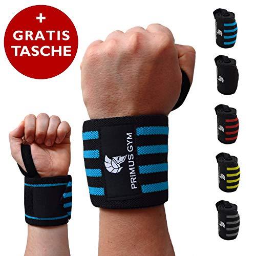 PRIMUS GYM Fitness Handgelenk Bandagen [2er Set] Wrist Wraps - Profi Handgelenkbandage für Kraftsport, Bodybuilding, Powerlifting, Crossfit & Fitness - Für Frauen & Männer (Schwarz/Blau)