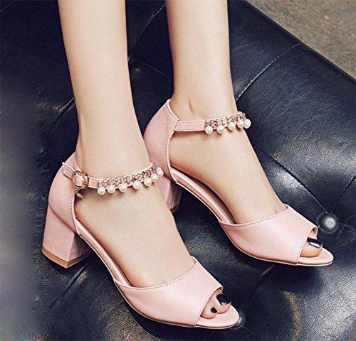Fischkopf High Heels Sandalen Frauen Sommer Sandalen dick mit Perlen Pink