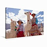 Premium Textil-Leinwand 90 cm x 60 cm quer Frau und Mädchen mit Lama und Alpaka | Wandbild, Bild auf Keilrahmen, Fertigbild auf echter Leinwand. Maca, Colca Canyon, Peru (CALVENDO Orte)