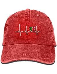 Rlexaoiy Portugal Flag Heartbeat Denim Hat Adjustable Womens Surf Baseball Caps