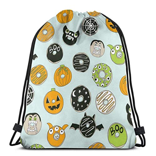 Halloween Donut Fall Autumn Food Cute Spooky Scary Gym Sack Bag Drawstring Sport Beach Travel Outdoor Backpack for Women 17 X 14 Inch (Cute Food For Kids Halloween)