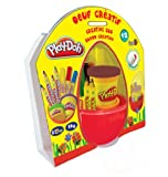 Play-Doh Creative Egg - Estuche creativo (4 lápices de colores, 3 rotuladores de colores y 2 botes de plastilina)