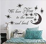 Etiqueta De La Pared We Love You To The Moon Y Back Star Quotes Vinilo Pegatinas Para Niños Niños Niñas Dormitorio Decoración Del Hogar Arte Decal