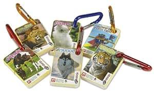 """Nürnberger-Spielkarten 1431 Karabini - Set di 6 mini mazzi per gioco """"Famiglie"""" con moschettone, motivo: Il mondo dei bambini [importato dalla Germania]"""