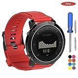 Bemodst para Suunto Traverse Correa Strap, Accesorio de Reemplazo de Silicona Reloj Pulsera Banda Correa para Suunto Traverse Smartwatch (Rojo)