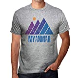 One in the City Hombre Camiseta Vintage T-Shirt Gráfico Mountain Myanmar Gris Moteado