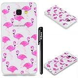 BtDuck Kompatibel mit Hülle Samsung Galaxy A5 2016 Hülle Silikon Transparent Muster Rosa Ultra Slim Durchsichtig Schutzhülle Cover Silikon Case Schutzhülle Handyhülle Flamingo