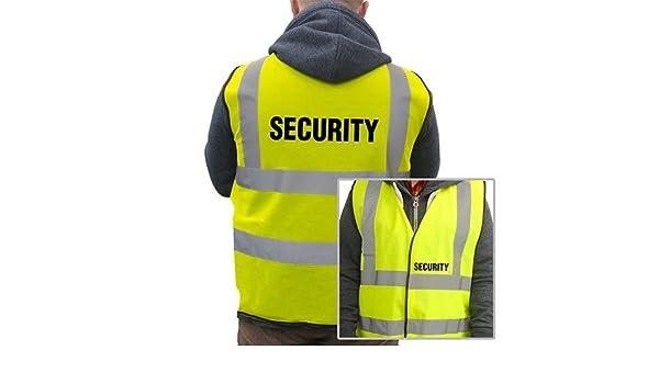 NERO Hi viz gilet sicurezza stampato sulla parte posteriore /& anteriore HI visibilità NASTRO 6 Taglie