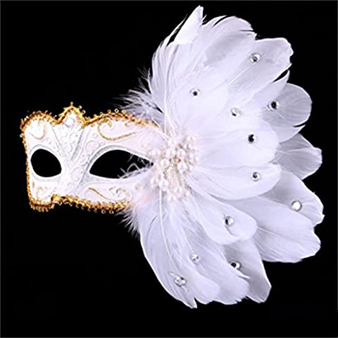 Jack Mall- Mascarada de encaje veneciano máscara pintada pluma bella princesa máscara blanca fiesta de baile ( Diseño : Pearl Paragraph )