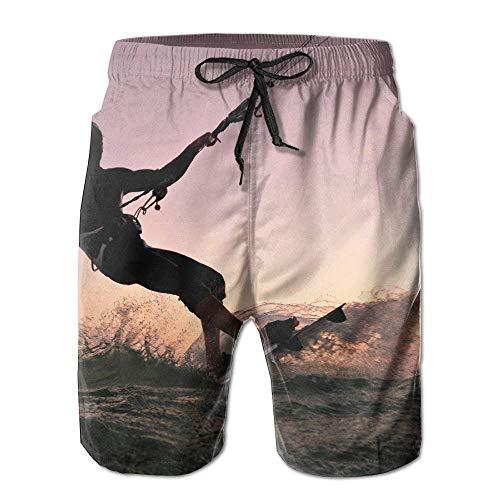 Men's Kite Surfing Freestyle at Sunset Fashion Beach Pant Tide Stamp Shorts XXL