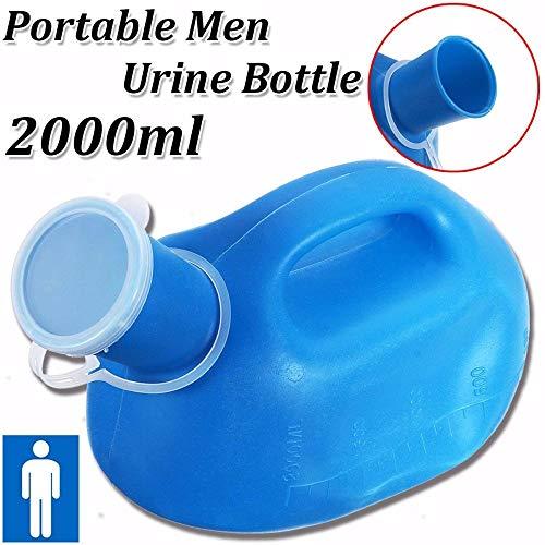 Urinalflasche für Männer mit langem Hals für Inkontinenz, 2000 ml Fassungsvermögen, Medizinausrüstung, Urinauffanggerät, auslaufsicheres Gerät, tragbare Urinflasche, Schnappdeckel
